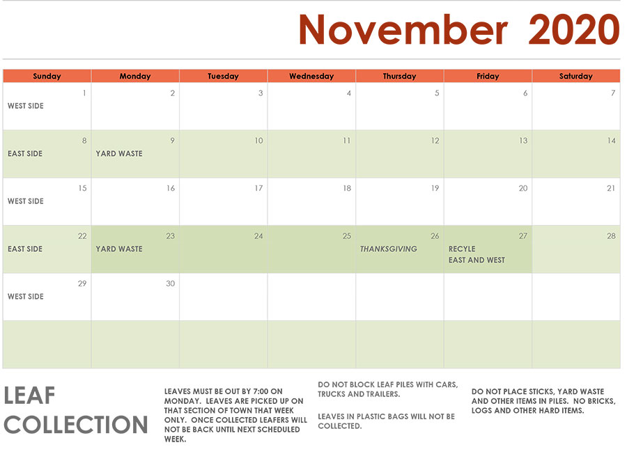 Novemeber-2020 Leaf Schedule