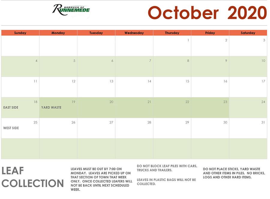 October-2020 leaf Schedule