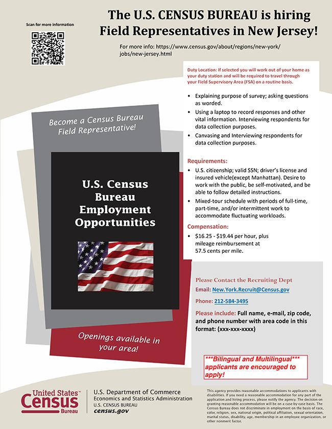The U.S. CENSUS BUREAU is hiring Field Representatives in New Jersey!